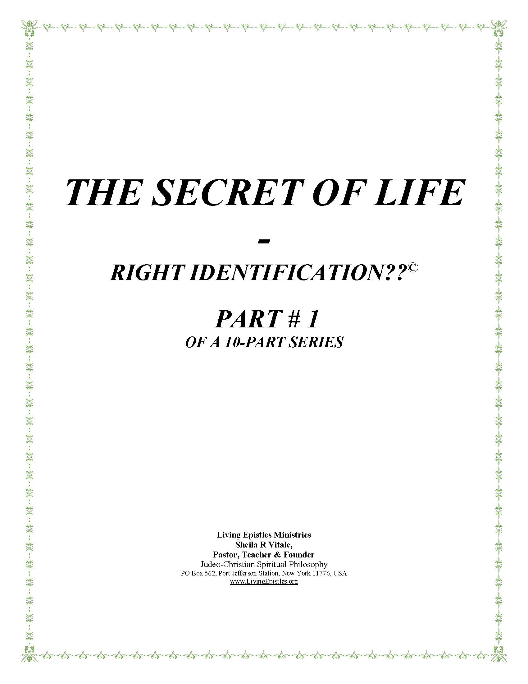 Secret Of Life Right Identification Part 01 022216 Cover