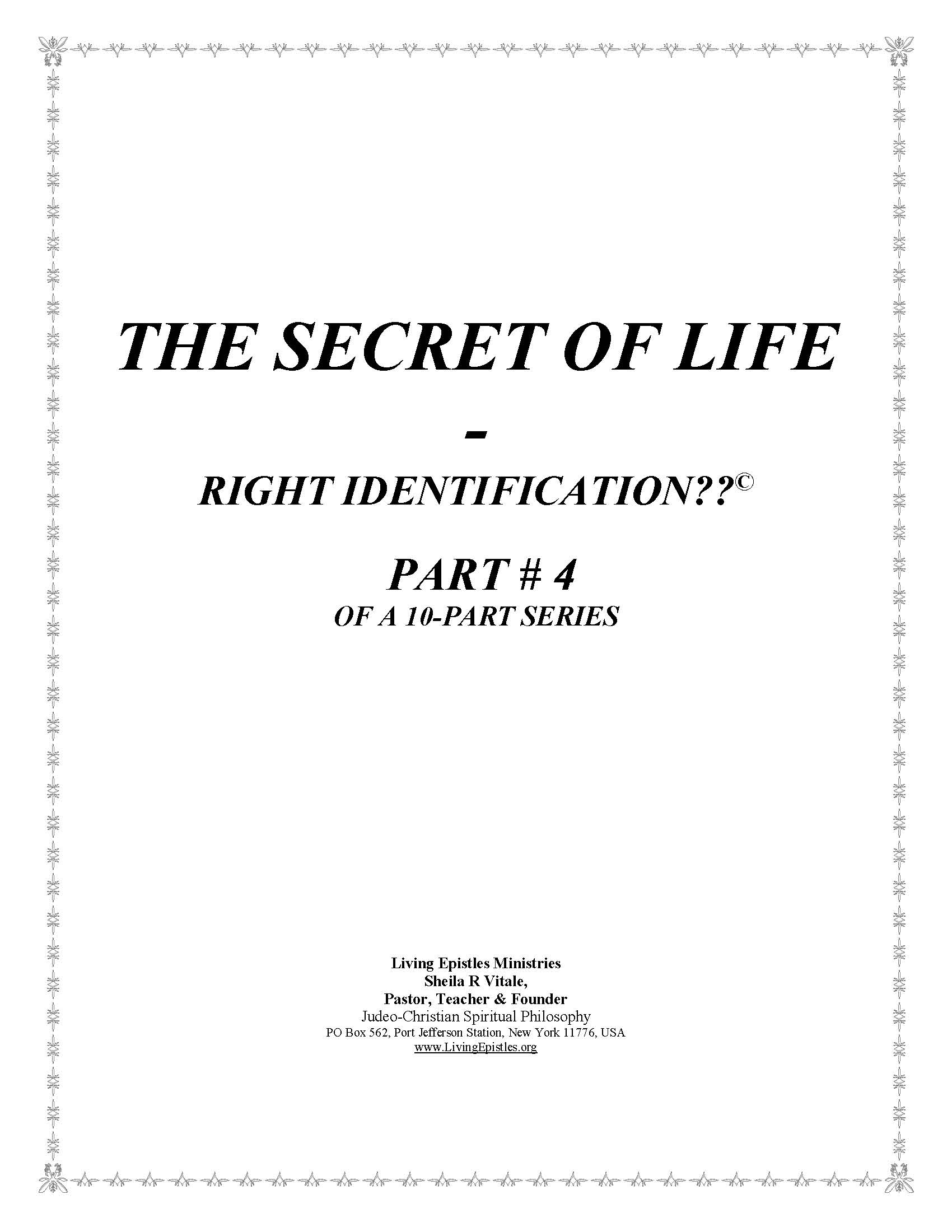 Secret Of Life Right Identification Part 04 022316 Cover
