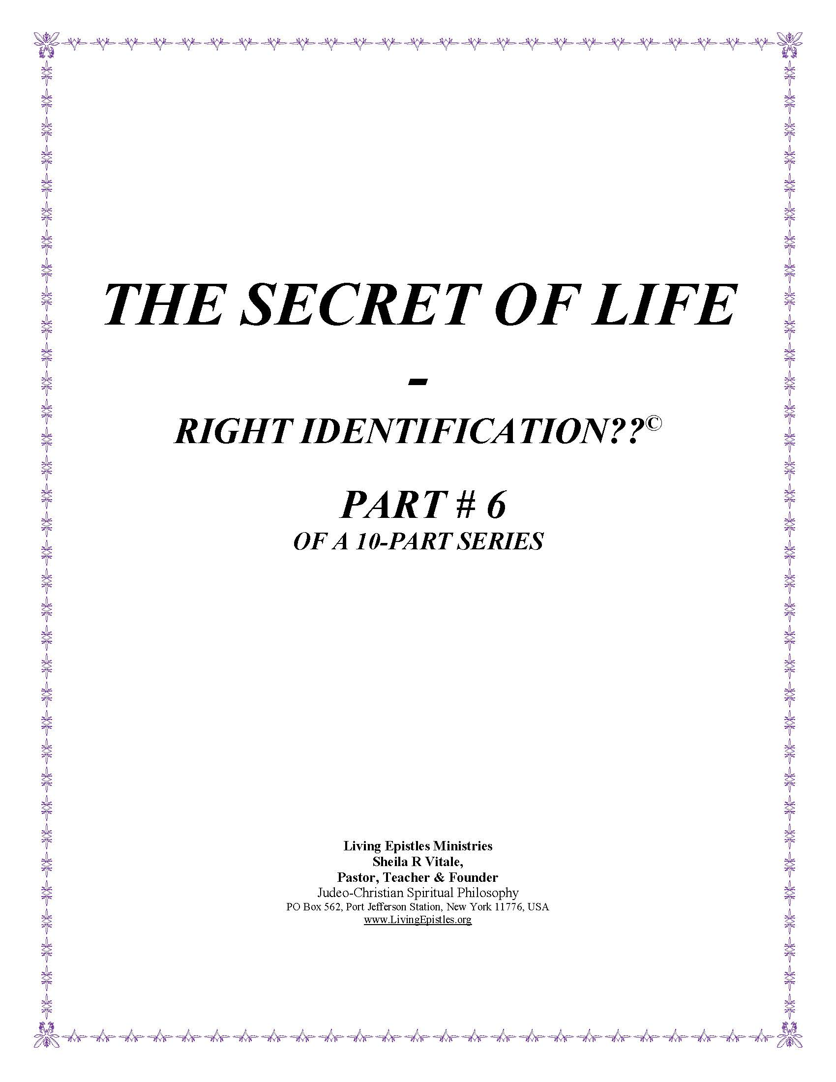 Secret Of Life Right Identification Part 06 022316 Cover