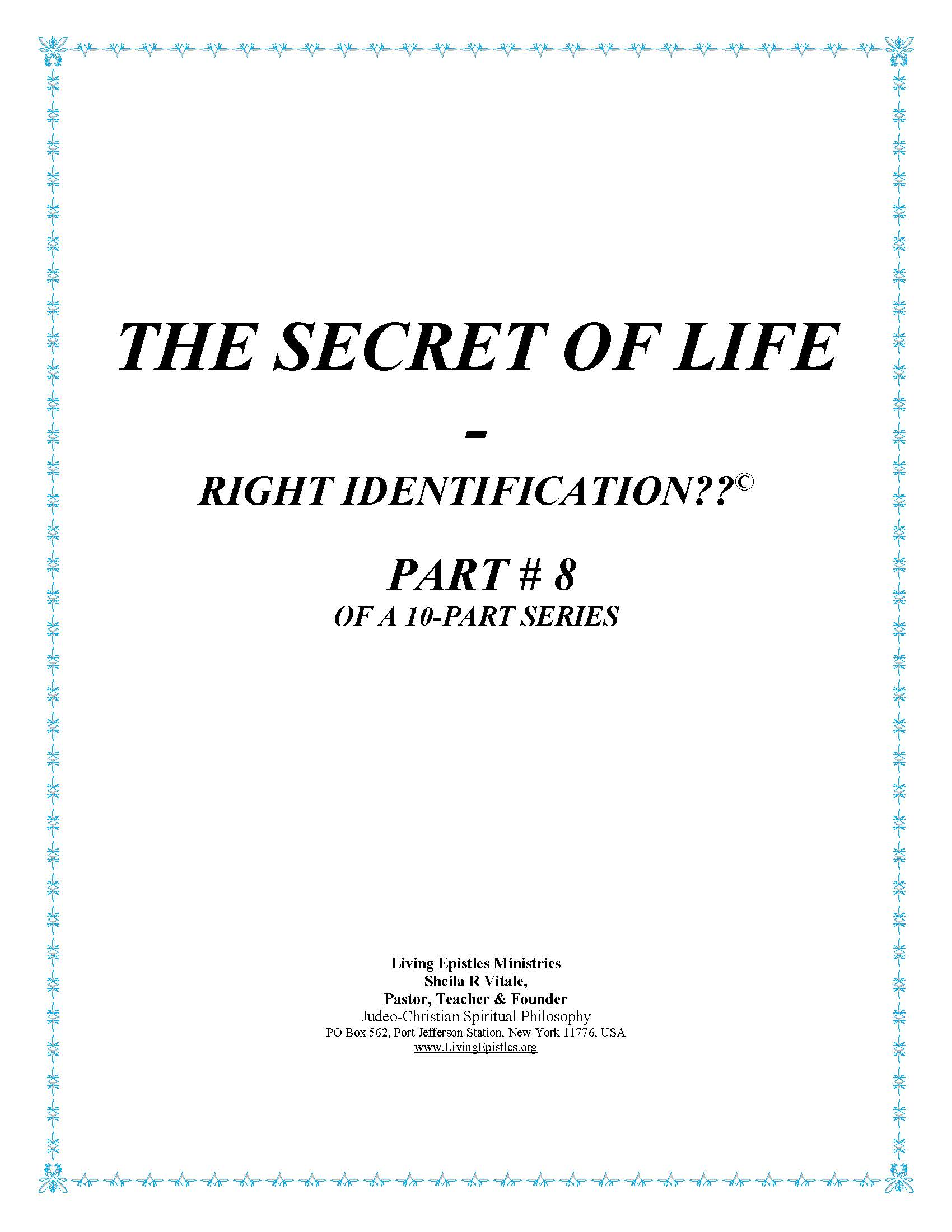 Secret Of Life Right Identification Part 08 022316 Cover